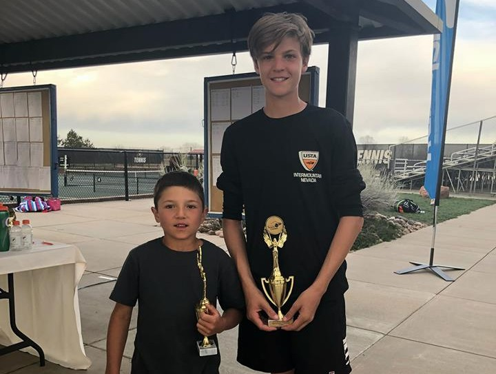 Teo and His Doubles Partner Wesley With the Second Place Trophy at the 14 and Under Tournament